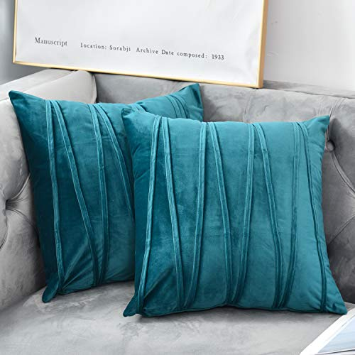NianEr Decorative Plush Velvet Throw Pillow Covers Sofa Accent Couch Pillows Set of 2 for Bed Living Room Square Pillow Cases 20X20 Teal