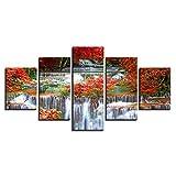 LWJPD Cuadro en Lienzo 5 Partes Impresión Moderna Manglar Cascada Paisaje Pintura Al Óleo Cuadro Modular Mural Decoración del Hogar Sala De Estar Sin Marco 60 Inch