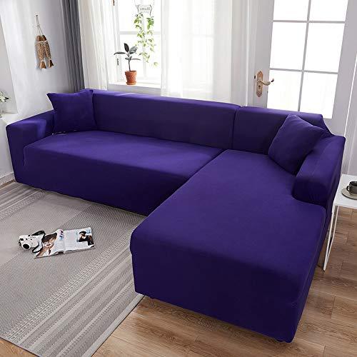 Funda de sofá elástica de color liso, color gris, funda elástica para sofá de 2 piezas, funda para sofá de estilo L, funda para sofá (color: morado oscuro, especificación: 4 plazas 235 300 cm)