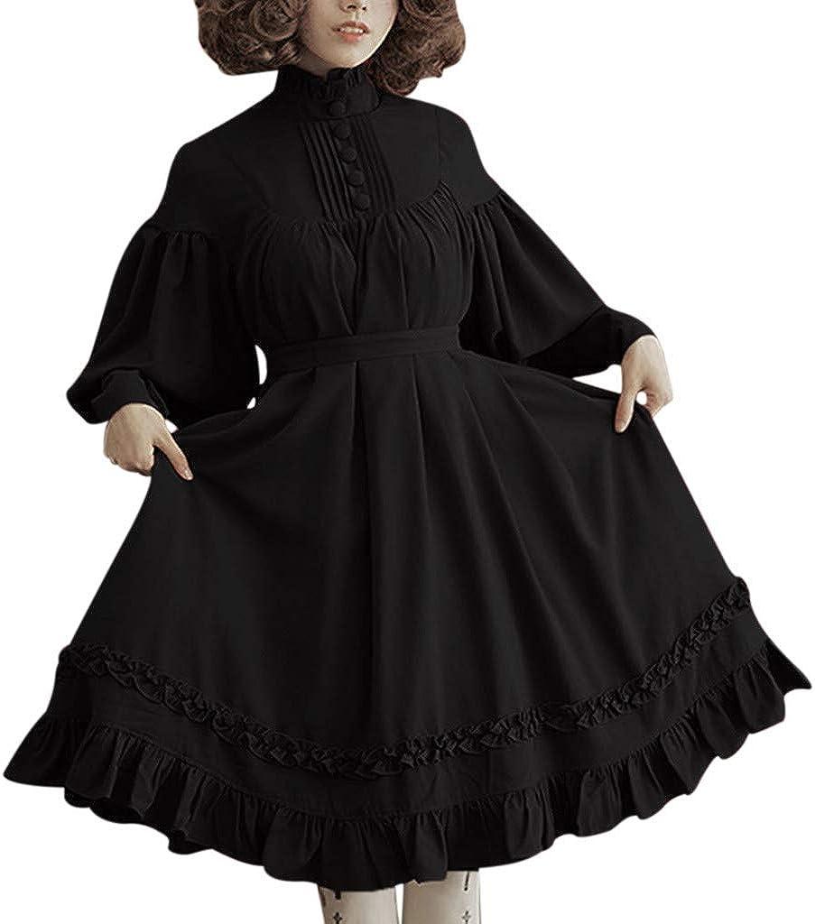 VEKDONE Women Girls Gothic Princess Cosplay Long Sleeve Renaissance Retro Sweet Lolita Dress Plus Size
