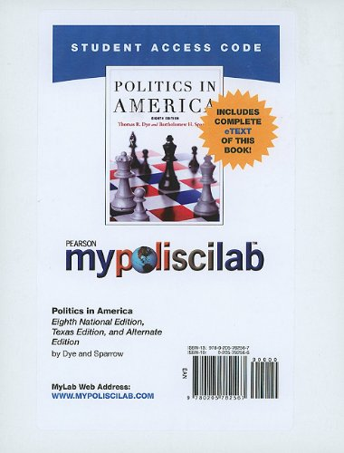MyPoliSciLab with Pearson eText -- Standalone Access Card -- for Politics in America  (8th Edition) (Mypoliscilab (Access Codes))