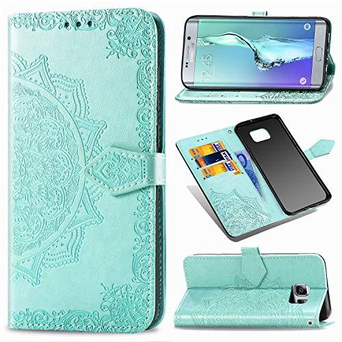 YYhin Case per Cover Samsung Galaxy S6 Edge Plus / S6 Edge+, Custodia in Pelle Mandala impressa, Copertina Portafoglio Premium, Custodia per Telefono Case -SD/Verde