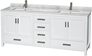 Wyndham Collection Sheffield 80 inch Double Bathroom Vanity in White, White Carrara Marble Countertop, Undermount Square Sinks, and No Mirror - coolthings.us