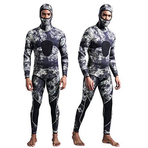 Traje de Neopreno para Hombre con Capucha, 3mm Camuflaje Trajes de Buceo de Surf Térmicos de Invierno 2 Piezas Wetsuit,Camouflage-XL