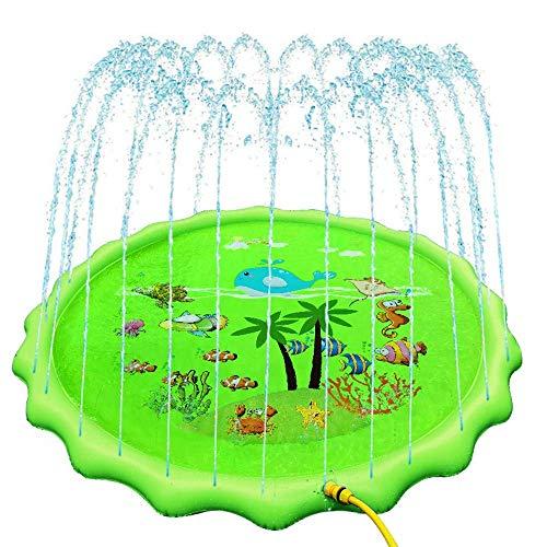 JJYY Niños/niños pequeños/bebés rociadores de Alfombra de Juego de Agua para Exterior, jardín, césped, balcón, Divertido rociador de Juguetes de Agua 170 * 170 cm, Regalo de Verano Ideal para