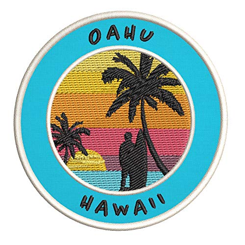 Oahu, Hawaii Surfing Spot Embroidered Premium Patch DIY Iron-on or Sew-on Decorative Badge Emblem Vacation Souvenir Travel Gear Clothes Appliques
