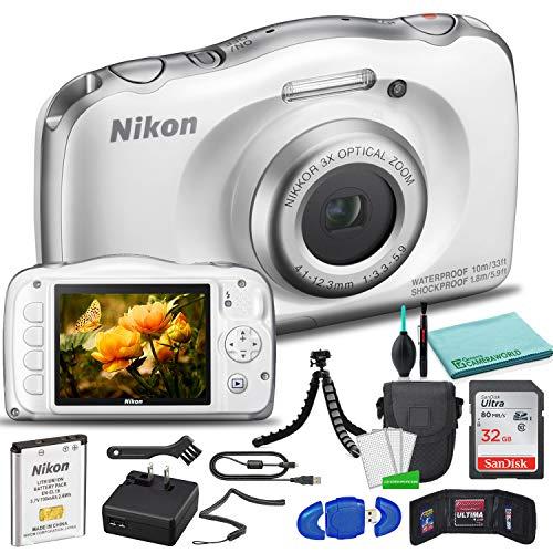 Nikon COOLPIX W150 Digital Camera (White) (26530) USA Model + SanDisk 32GB Ultra Memory Card + Memory Card Wallet + 12...