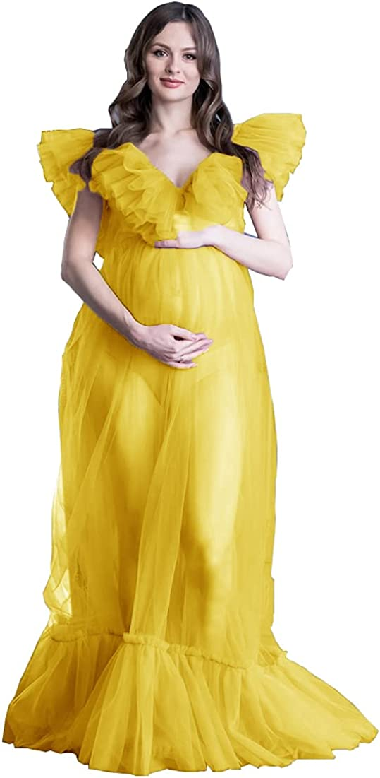 Tianzhihe Sheer Maternity Tulle Robe for Photoshoot Ladies Dressing Gown Puffy Long Lingerie Bridal Outfit