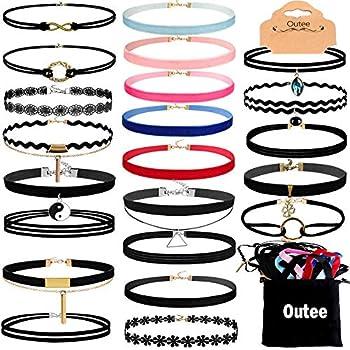 Outee 30 Pcs Choker Set Black Chokers Necklaces for Women Velvet Chokers Necklaces for Teen Girls Henna Tattoo Choker Ribbon