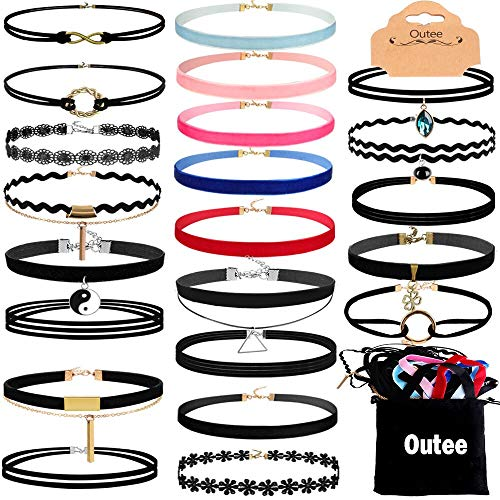Outee 30 Pcs Choker Set Black Chokers Necklaces for Women Velvet Chokers Necklaces for Teen Girls Henna Tattoo Choker Ribbon