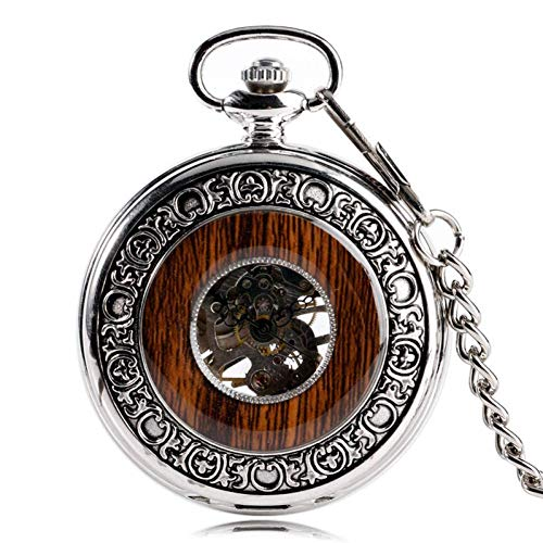 LNDDP Retro Pocket Watch, Cool Xmas Gift Silver Hand Wind Steampunk Windup Mechanical Pocket Watch Wood Style Circle Vintage Stylish Special Design