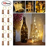 Sanniu Bottles Lights, 10 PacksCork Copper Starry Wine Bottle Fairy Lights for Bottle,...