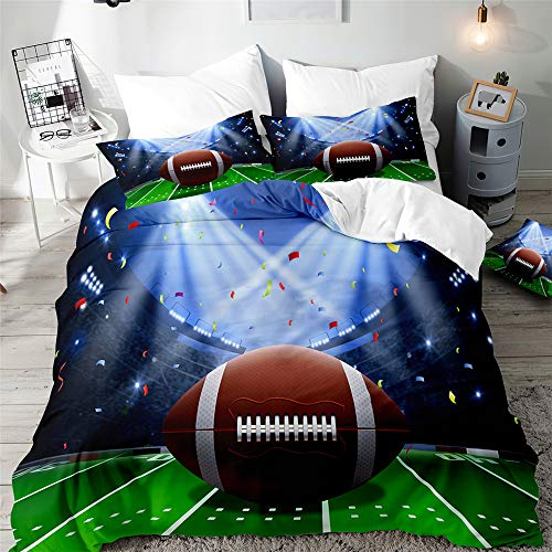 Fansu Adult Duvet Cover Single 3D Printing Football 3 Pieces Bedding Set, Easy Care And Super Soft Design With 2 Pillowcases (Football B,180x220cm)