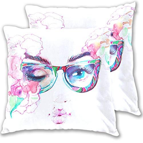 SAIAOS Fundas de Cojín Paquete de 2 Mujer Cara Ojos Divertidos Gafas Chicas,Decorativa Impreso Caso de Almohada Cuadrado Fundas de Almohada para Sofá Coche Cama 40x40cm