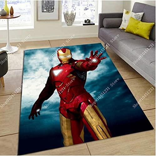 WPCheng Los Vengadores Marvel Team Superhéroe Puerta Alfombra Capitán América Spiderman Alfombra Piso Dormitorio Felpudo Alfombra Antideslizante Regalo De Dibujos Animados C-382Q 140X200Cm