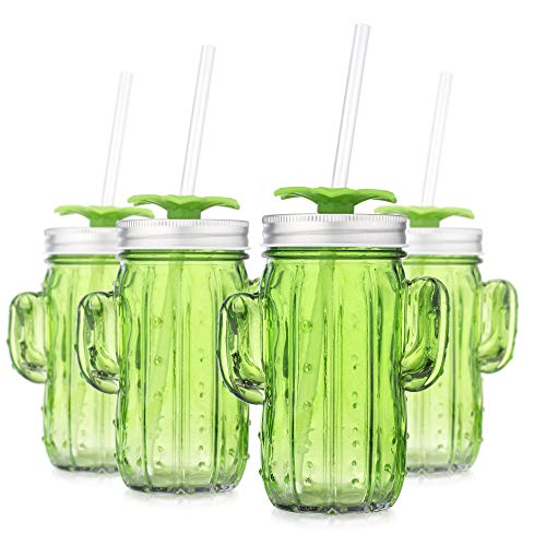 Set of 4 Set of 4 Green Cactus Shape Glass Sipper with Metal Lids & Plastic Straws (13.5 Oz)
