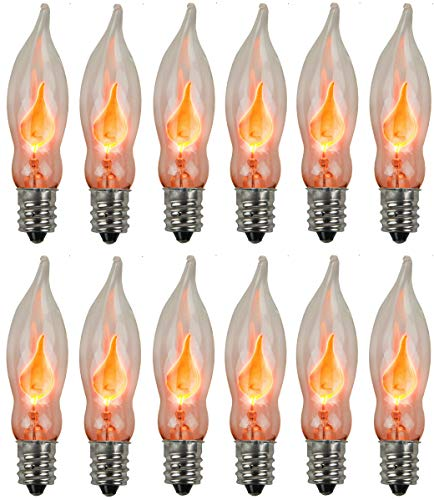 Holiday Joy - Flicker Flame Crystal Clear Flame Tip Candelabra Replacement Bulbs - Great for Electric Window Candle Lamps - CA5 - E12-1 Watt - 120 Volts (12 Pack)