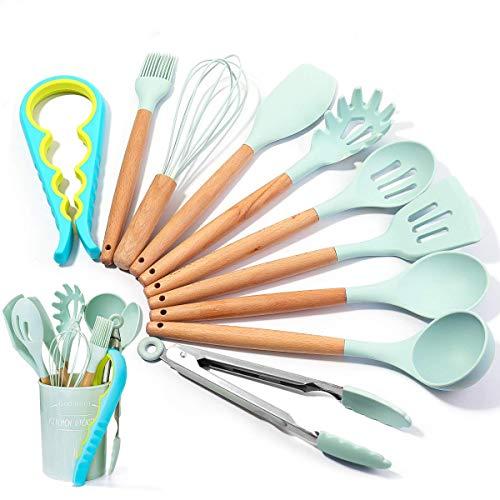 Küchenhelfer Set, Godmorn 11 Pcs Silikon Küchenutensilien, Silikon & Holzgriff, Backpinsel, Kochlöffel, Schöpflöffel, Pfannenwender, Schaumlöffel, Schneebesen, Für Töpfe und Pfannen, BPA-Frei