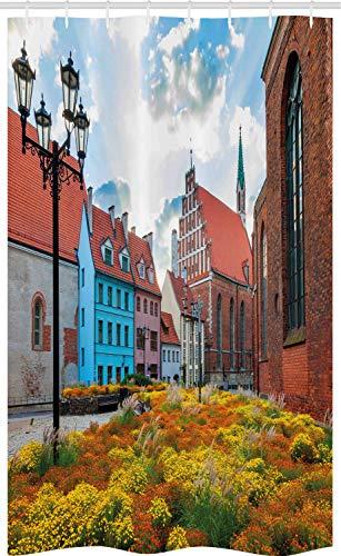 ABAKUHAUS Victoriaans Douchegordijn, Old City Riga Letland, voor Douchecabine Stoffen Badkamer Decoratie Set met Ophangringen, 120 x 180 cm, Veelkleurig