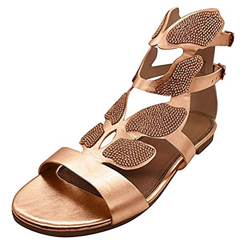 Fengstore Sandalias de gladiador de diamantes de imitación zapatos planos en forma...