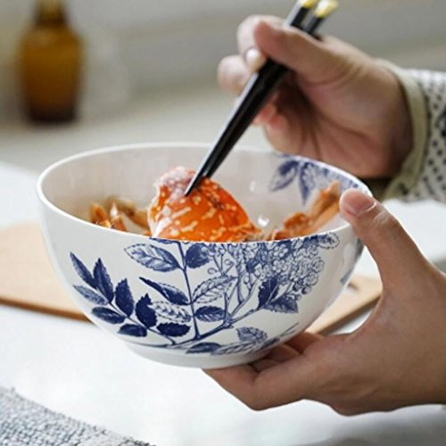 Salade de fruits Rétro petit bol américain bleu et blanc de bol en céramique de salade de fruits Bol bol à soupe en porcelaine bleue de 6 pouces Assiette de salade