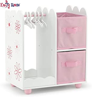 Emily Rose 18 Inch Doll Furniture   Floral Design Open Wardrobe 18 Inch Doll Closet, Includes 3 Wooden Doll Clothes Hangers   Fits American Girl Doll Clothes