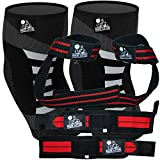 Nordic Lifting Elbow Compression Sleeves (1 Pair) X-Large and Wrist Wraps + Lifting Straps (2 Pairs) Red