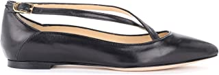 L'ARIANNA Woman's Pointed Ballerina Crossed in Black Leather