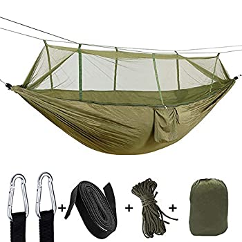 Hamac avec moustiquaire, Ultralight Étanche Nylon Portable Hammack Bâche Tente Tissu de pique-nique, Hamac Suspendu avec Sangles d'arbre pour l'extérieur/randonnée/voyage (ArmyGreen+Camo)