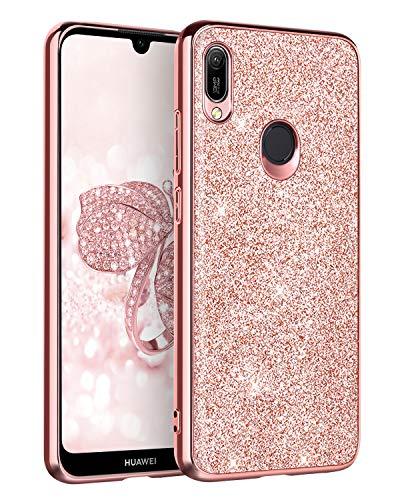 BENTOBEN Funda Huawei Y6 2019, Carcasa Huawei Y6 2019 Purpurina Carcasa Ultra Delgada Cover Brillante Resistente Silicona PC Protectora a Prueba de Golpes Fundas para Huawei Y6 2019 6.09'' Oro Rosa
