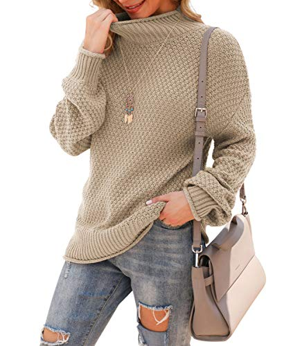 Jouica Womens Fall Casual Long Sleeve Pullover Sweater,Khaki,Large