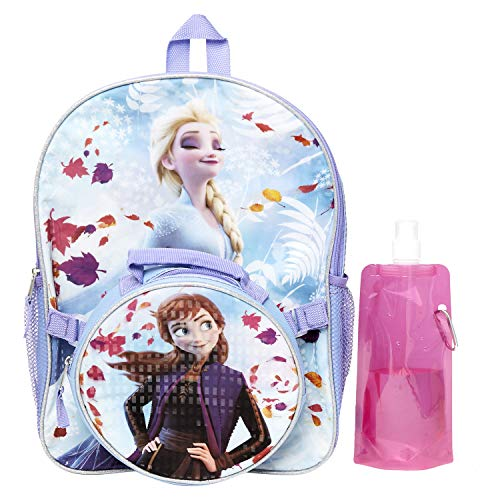 Disney Frozen Backpack Combo Set - Frozen 2 Anna & Elsa 4 Piece Backpack Set - Backpack, Lunch Box,Water Bottle and Carabina (Frozen)