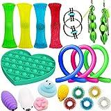 21Pcs Juguetes Sensoriales, Kit de Juguetes Antiestrés, para Aliviar el Estrés para Niños y Adultos, Sensory Fidget Toys Set de juguetes sensoriales Set de juguetes sensoriales para TDAH, Autismo