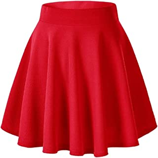 Best Casual Mini Stretch Waist Flared Plain Pleated Skater Skirt Review