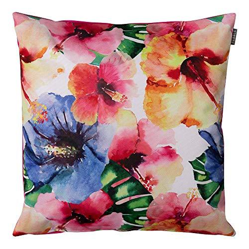 Coussins d'extérieur - 43cm x 43cm - Tissu Hawaïenne Multi couleurs fleuri en rose - Remplis en fibre douce, imperméable – Coussins dispersions décoratifs idéal pour banc de jardin, chaise et canapé
