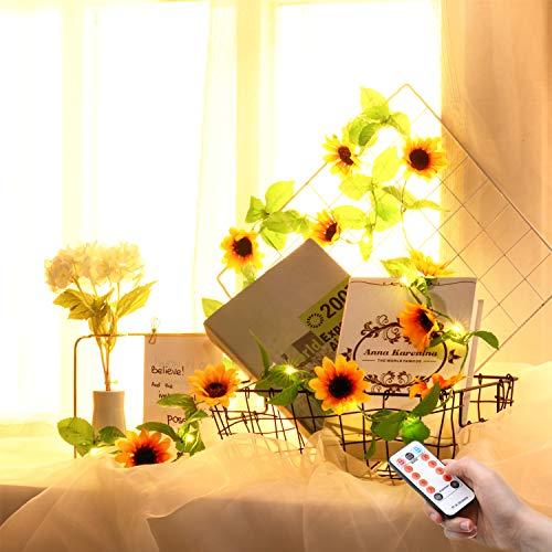 Valentinstag Blume Lichterkette, 6,5 Füße 20 LEDs Blume Licht, Batteriebetrieben mit 8 Modi, Fernbedienung und Timer Romantische Dekoration für Hochzeit Geburtstag (Sonnenblume mit Blatt)
