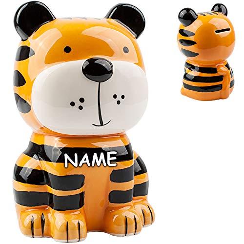 alles-meine.de GmbH große XL Spardose - süßer Tiger - inkl. Name - stabile Sparbüchse - aus Porzellan / Keramik - mit Verschluss - 18 cm - Sparschwein - für Kinder & Erwachsene /..