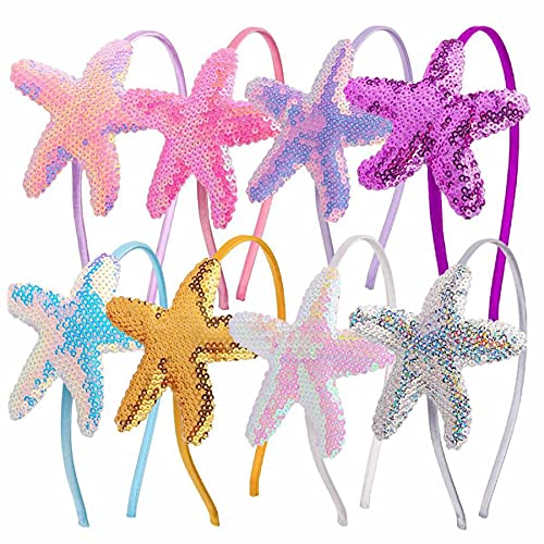 HCY 7Pcs Lovely Starfish Girls Headband Teens Toddler Hair Accessories Hair Bands for Kids Party Headwear