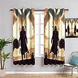 Ficldxc Cortina de ventana de Star Wars negra, 2 paneles, cortinas de 160 cm de largo, para bebé mandaloriano Yo-da, decoración de habitación de niños, fácil de limpiar de 42 x 63 pulgadas