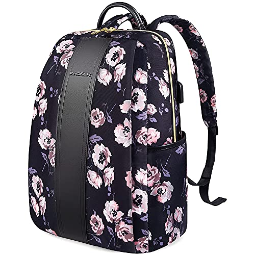 KROSER Laptop Backpack 15.6 Inch Fashion College School Backpack Water-Repellent Casual Daypack with USB Charging Port for Women/Girls/Travel/Business-Rose Pattern