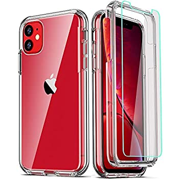 COOLQO Compatible with iPhone 11 Case and [2 x Tempered Glass Screen Protector] for Clear 360 Full Body Coverage Hard PC+Soft Silicone TPU 3in1 Shockproof Protective Phone Cover