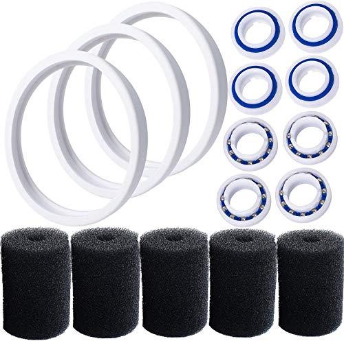Poweka C60 Rodamientos de Bolas Adaptables de Rueda con C-10/C10 Tire y 9-100-3105 Depurador de Manguera de Barrido, Reemplazos de Limpiadores de Piscinas para Polaris 180/280/360/380