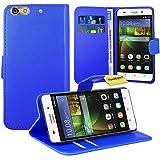 FoneExpert® Huawei G Play Mini/Honor 4C Handy Tasche, Wallet Hülle Flip Cover Hüllen Etui Ledertasche Lederhülle Premium Schutzhülle für Huawei G Play Mini/Honor 4C (Blau)