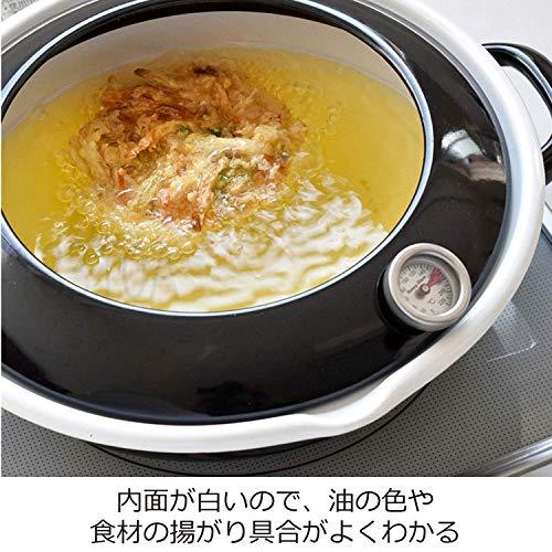 富士ホーロー天ぷら鍋24cm(2.8L)温度計付TP-24・BKブラック