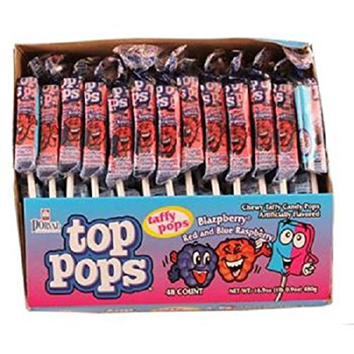 Top Pops Blazpberry Red & Blue Raspberry Lollipops, 48 Count (SUGAR CANDY - SUCKER/LOLLI POP)