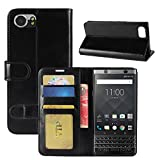 HualuBro BlackBerry KEYone Hülle, Retro Leder Brieftasche Etui LederHülle Tasche Schutzhülle HandyHülle Handytasche Leather Wallet Flip Hülle Cover für BlackBerry KEYone - Schwarz