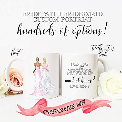 Aangepaste Portret Bruidsmeisje Mokken Bruid met Bruids Party Holding Champagne Aanpassen Haar Huid Roven Namen Terug Volledig Aangepast