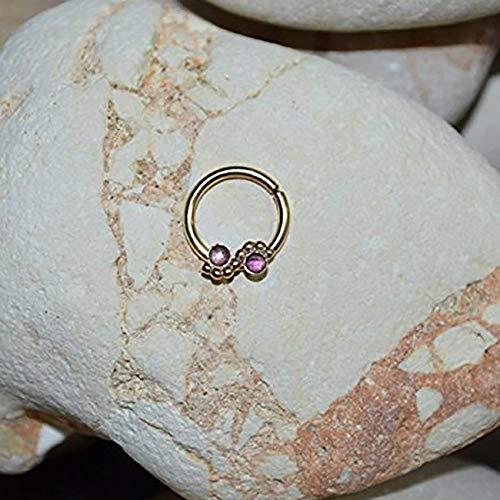 Gold Septum Ring - 2mm Amethyst Nose Ring - Septum Jewelry 16g - Nipple Earring - Daith Jewelry - Septum Hoop - Nose Piercing