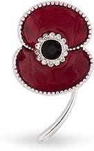The Royal British Legion Amazon Exclusive Beaded Edge Enamel Silver Tone Poppy Brooch
