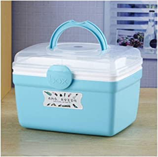 XZHMYYH Medicine box Cosmetics, household dust storage box large-capacity storage box Creative Desktop plastic jewelry portable kits Queen (Color : Small Sky-blue)